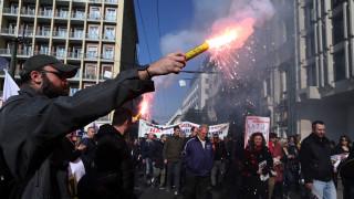 Συλλαλητήριο εργαζομένων στη ΛΑΡΚΟ στο κέντρο της Αθήνας