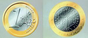 """1998, Γαλλία.  Το πρώτο νόμισμα """"ευρώ"""", με το μόττο """"ελευθερία, ισότητα, αδελφότητα"""" στην εμπρόσθια όψη του, """"κόπηκε"""" στο Πεσάκ της νότιας Γαλλίας."""