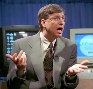 1998, Ουάσινγκτον. Ο CEO της Microsoft, Μπιλ Γκέιτς, απαντά σε ερωτήσεις δημοσιογράφων σχετικά με τις κατηγορίες για παραβίαση του νόμου περί μονοπωλίου που αντιμετωπίζει η εταιρεία του.