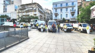 Δράσεις καθαριότητας και αποκατάστασης στην Πλατεία Βικτωρίας από τον Δήμο Αθηναίων
