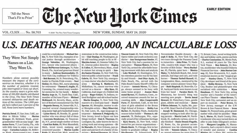 Κορωνοϊός: Ιστορικό πρωτοσέλιδο των New York Times με 1.000 ονόματα νεκρών