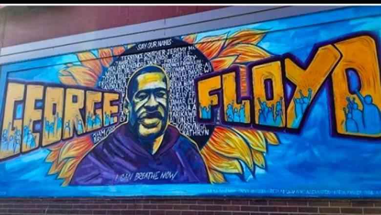 Mια τοιχογραφία για τον Τζορτζ Φλόιντ στο σημείο που τον σκότωσαν