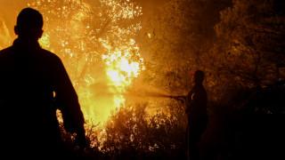 Μεγάλη φωτιά στα Ψαρά - Ολονύχτια «μάχη» με τις φλόγες