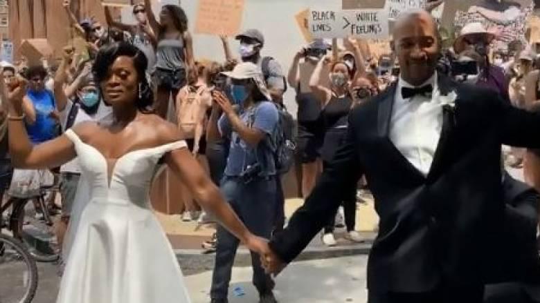 ΗΠΑ: Μετά το γάμο πήγαν σε διαδήλωση για τον Τζορτζ Φλόιντ