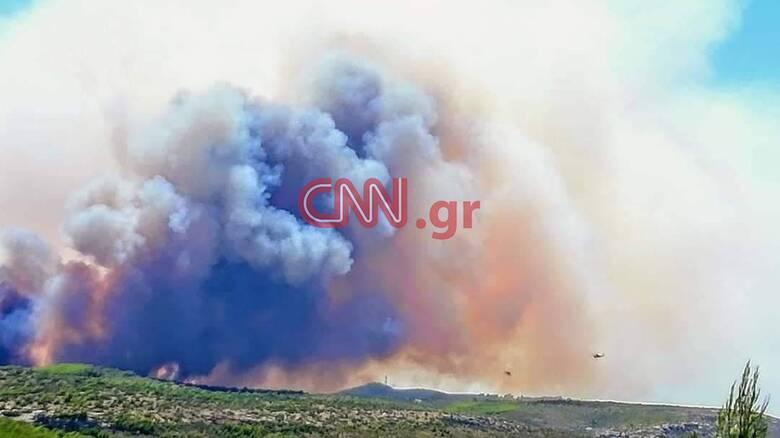Φωτιά στο Λαύριο: Εκκενώθηκαν τέσσερις οικισμοί και μία κατασκήνωση