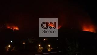 Φωτιά στις Κεχριές: Δεύτερη νύχτα συναγερμού - Βοηθά η πτώση των ανέμων