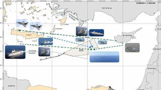 Αυτός είναι ο χάρτης από την κοινή ναυτική άσκηση Ελλάδας- Γαλλίας