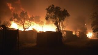 Μυτιλήνη: Στις φλόγες το ΚΥΤ της Μόριας - Εκκενώθηκε η δομή