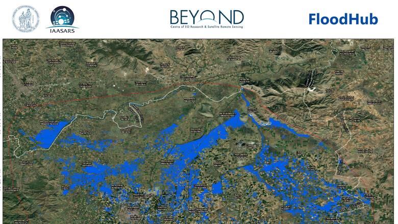 «Ιανός»: 155.800 στρέμματα πλημμύρισαν στην Καρδίτσα – Τι δείχνει η δορυφορική απεικόνιση