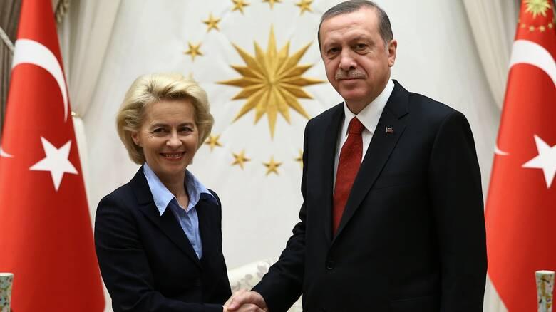 Επικοινωνία Ερντογάν - Φον ντερ Λάιεν: Κατηγορεί την Ελλάδα, ζητά ανταλλάγματα από την ΕΕ