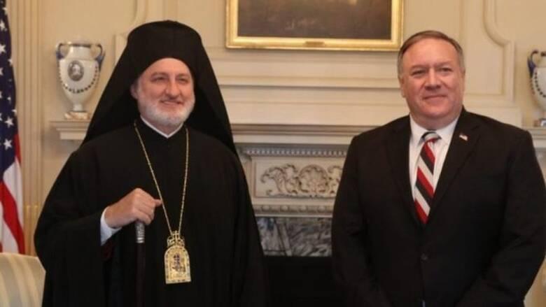 Συνάντηση Αρχιεπισκόπου Ελπιδοφόρου - Πομπέο: Στο επίκεντρο η τουρκική προκλητικότητα