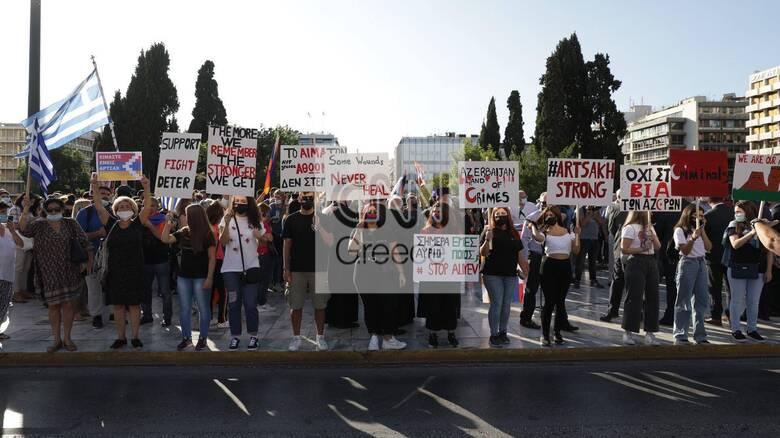 Συγκέντρωση διαμαρτυρίας Αρμενίων στο Σύνταγμα κατά της επιθετικότητας του Αζερμπαϊτζάν