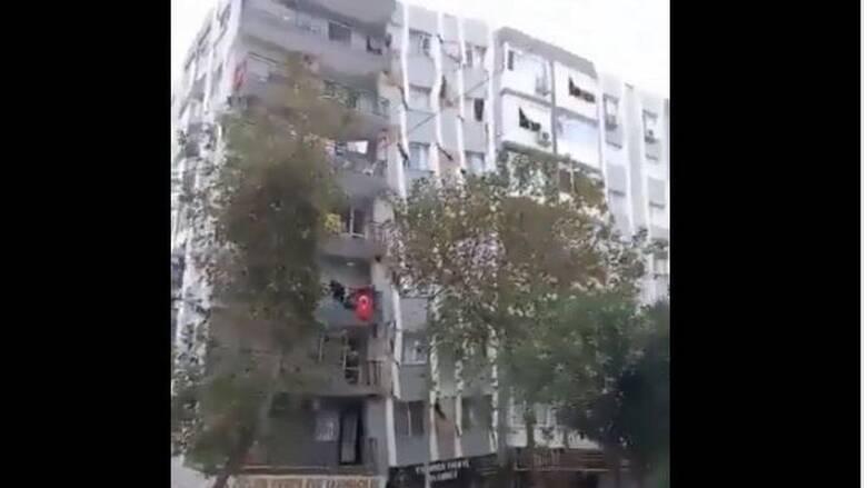 H στιγμή της κατάρρευσης του 13ώροφου κτηρίου στη Σμύρνη