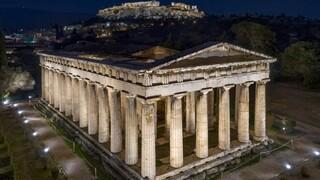 Ολοκληρώθηκε ο φωτισμός της Ακρόπολης - Με το ναό του Ηφαίστου και το μνημείο Φιλοπάππου