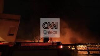 Μεγάλη φωτιά στη Λιοσίων - Αποθήκη κάηκε ολοσχερώς