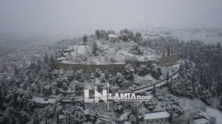 Κακοκαιρία «Μήδεια»: Η Λαμία ντύθηκε στα... λευκά - Εντυπωσιακό βίντεο από drone