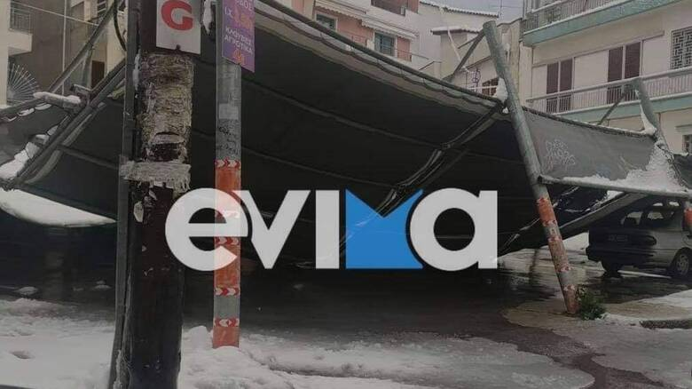 Κακοκαιρία «Μήδεια»: Ξηλώθηκαν στέγες και ξεριζώθηκαν δέντρα στη Χαλκίδα