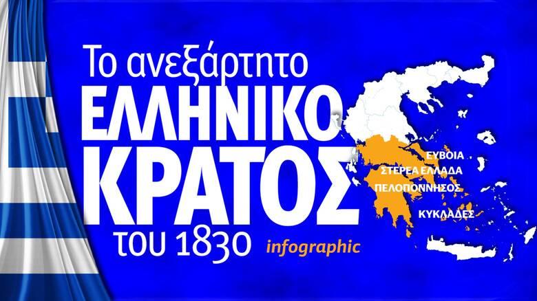 1821: Το ανεξάρτητο ελληνικό κράτος του 1830 - Δείτε το infographic