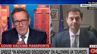 Θεοχάρης στο CNN: Τα πιστοποιητικά εμβολιασμού είναι ο μόνος τρόπος να προχωρήσουμε