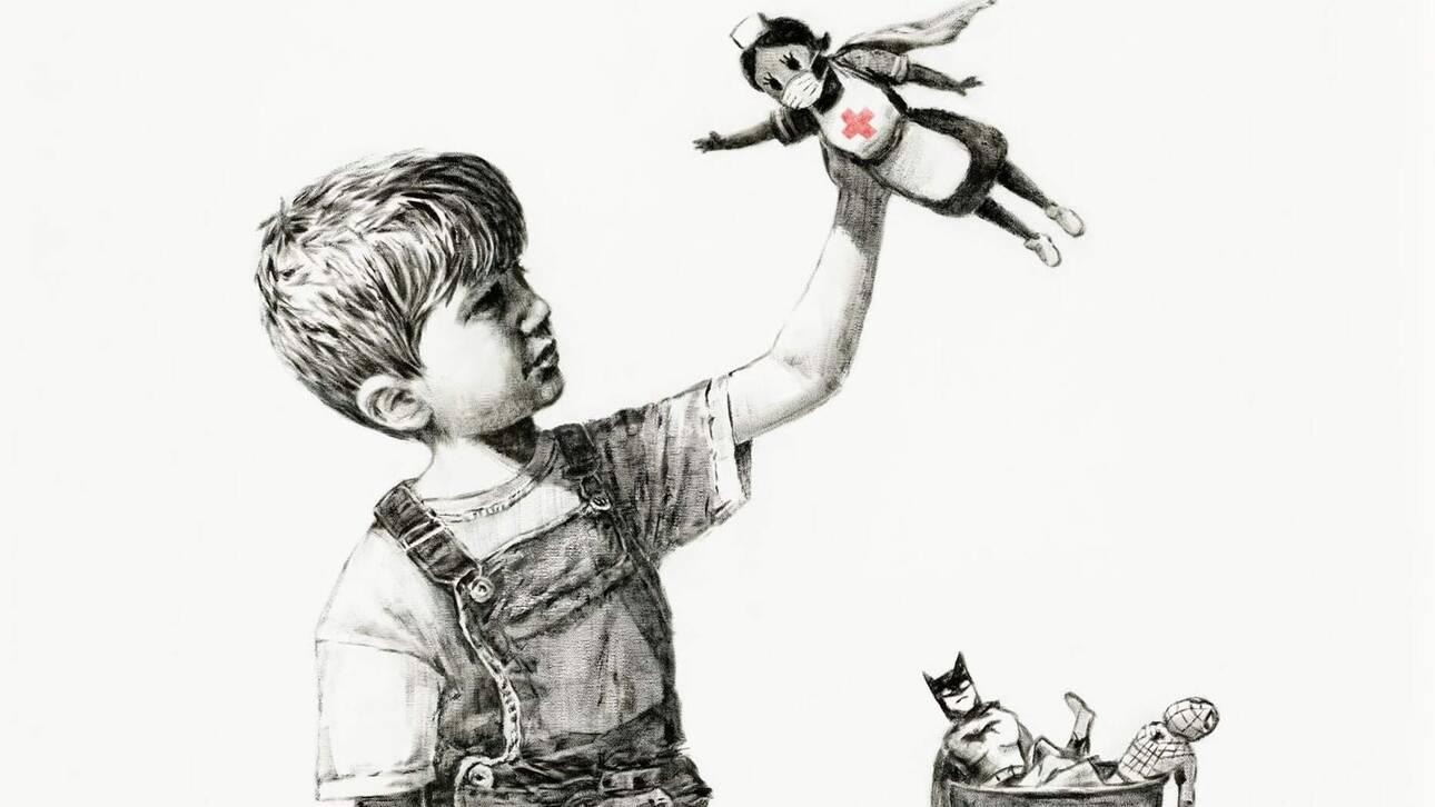 Banksy: Ο πίνακας με τη νοσοκόμα και το αγόρι πωλήθηκε προς 20 εκατομμύρια ευρώ σε δημοπρασία