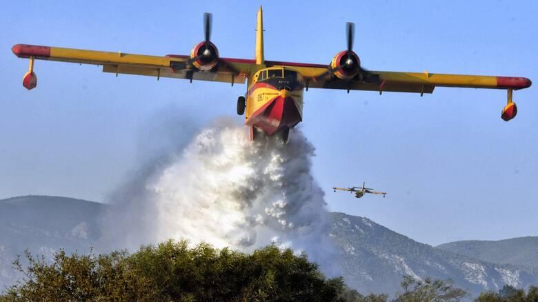 Σε εξέλιξη φωτιά σε δασική έκταση στο Χιλιομόδι Κορινθίας