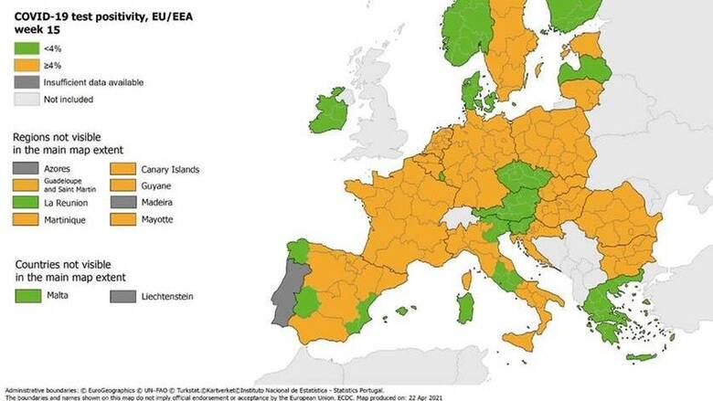 Κορωνοϊός - Χάρτης ECDC: Στο «πράσινο» ο δείκτης θετικότητας στην Ελλάδα