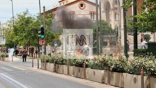 Ένταση και μολότοφ στο κέντρο της Αθήνας