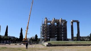 Η πορεία των έργων συντήρησης στο Ναό του Ολυμπίου Διός - Αυτοψία Μενδώνη
