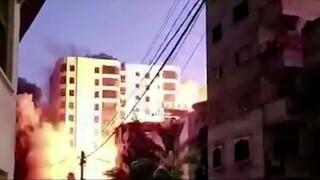 Γάζα: Κτήριο 13 ορόφων καταρρέει σαν χάρτινος πύργος μετά από ισραηλινό βομβαρδισμό