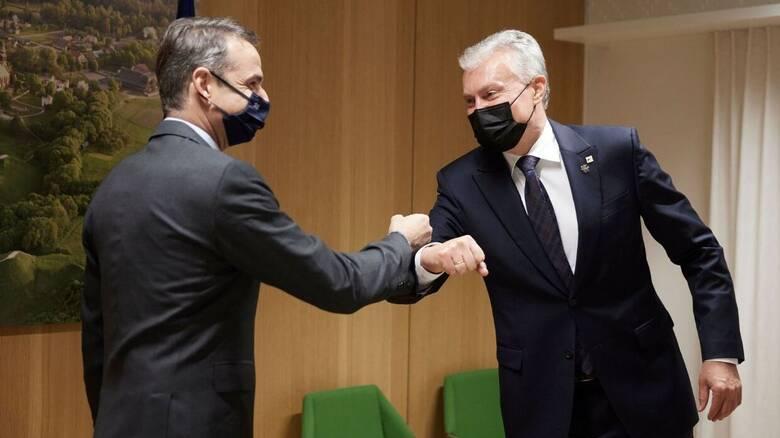 Συνάντηση Μητσοτάκη με τον Λιθουανό πρόεδρο - Ικανοποίηση για τη στάση της Αθήνας