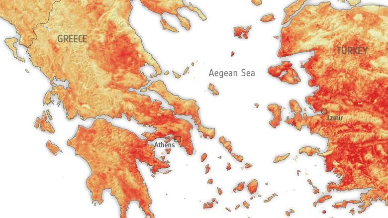 Καύσωνας - ESA: «Ψήθηκε» η γη στην Ελλάδα με 50 βαθμούς στην επιφάνεια