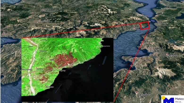 Αχαΐα: Πάνω από 3.000 στρέμματα η πρώτη δορυφορική εκτίμηση των καμένων περιοχών