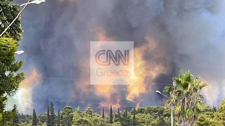 Φωτιά στη Βαρυμπόμπη - Μήνυμα από το 112