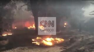 Φωτιά Βαρυμπόμπη: Κάηκαν σπίτια στις Αδάμες, σε απόγνωση οι κάτοικοι