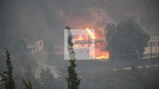 Φωτιά Βαρυμπόμπη: Στις φλόγες σπίτια στο ρέμα Καλυφτάκη
