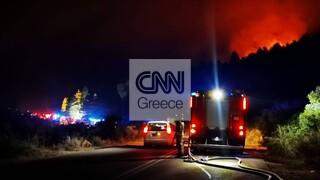 Φωτιά: Νύχτα αγωνίας στα Βίλια - Μάχη για να προστατευθεί ο οικισμός