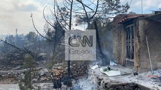 Φωτιά στα Βίλια: Καμένα σπίτια στο Καραούλι - Η μαρτυρία κατοίκου της περιοχής