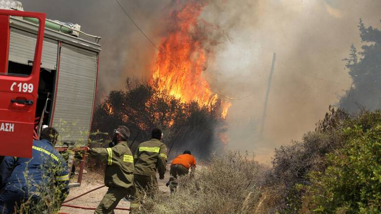 Φωτιά στο Μεσολόγγι: Μαίνεται σε δασική έκταση στην περιοχή Άγιος Συμεών