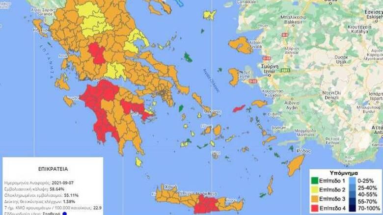 Κορωνοϊός: Στο «κόκκινο» πέρασαν Ευρυτανία και Αργολίδα - Ενδεχόμενο ένα μίνι lockdown