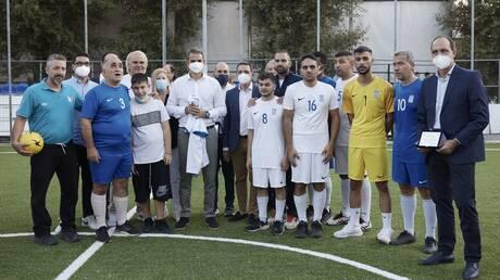 Θεσσαλονίκη: Ο πρωθυπουργός στην προπόνηση της Εθνικής Ομάδας Ποδοσφαίρου Τυφλών