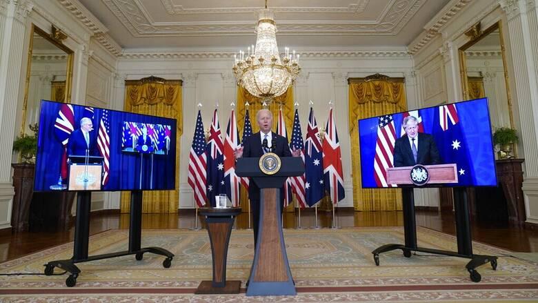 AUKUS: Κοινό μέτωπο από ΗΠΑ, Βρετανία και Αυστραλία απέναντι στην Κίνα