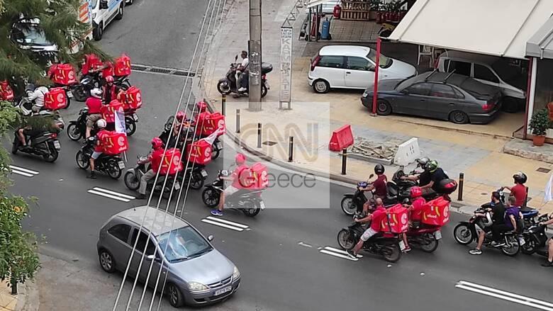 Κινητοποιήσεις και μοτοπορεία στην Αθήνα από διανομείς και εργαζομένους στην εστίαση