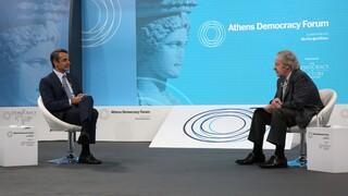 Athens Democracy Forum - Μητσοτάκης: Δεν θα μπούμε σε κούρσα εξοπλισμών με την Τουρκία