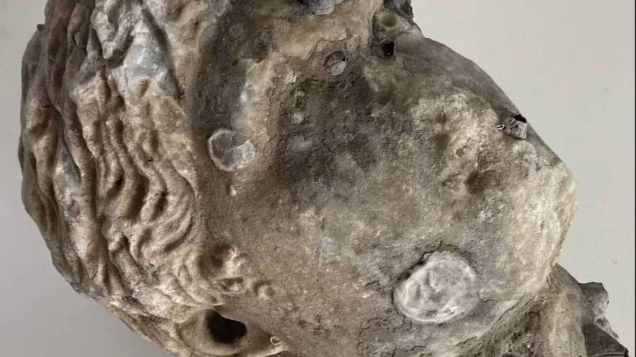 Ρωμαϊκή κεφαλή από πεντελικό μάρμαρο ανασύρθηκε από τη θάλασσα της Πρέβεζας