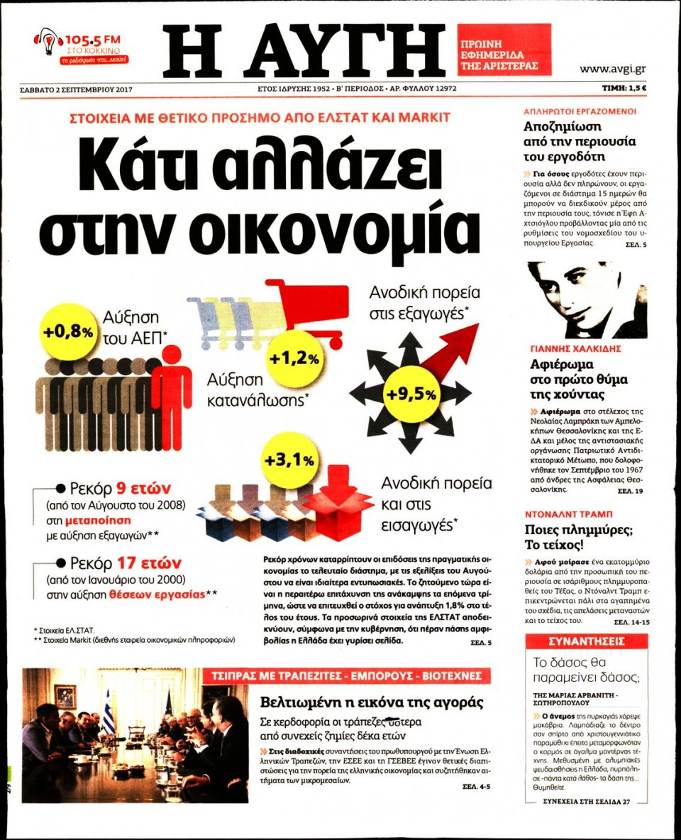 Πρωτοσέλιδο Εφημερίδας - ΑΥΓΗ - 2017-09-02