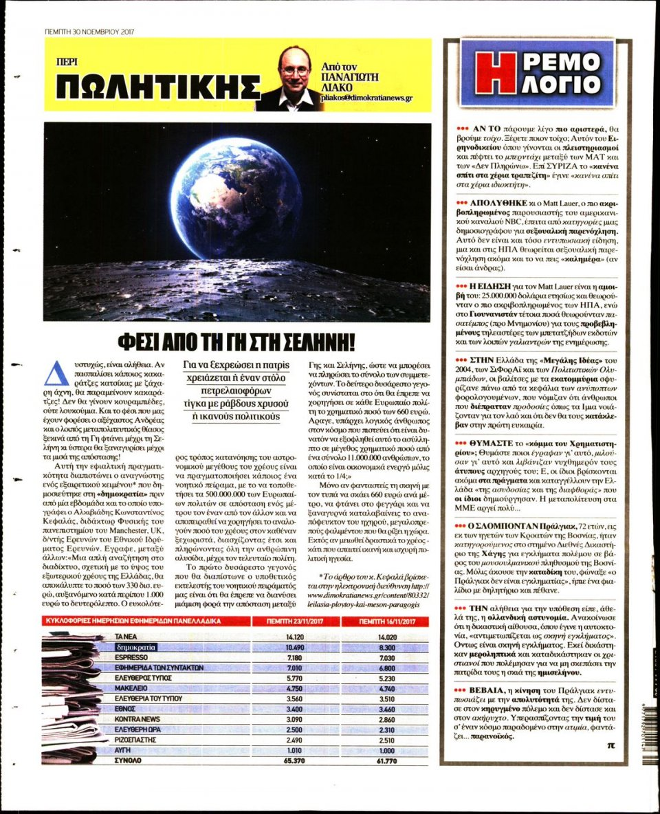 Οπισθόφυλλο Εφημερίδας - ΔΗΜΟΚΡΑΤΙΑ - 2017-11-30