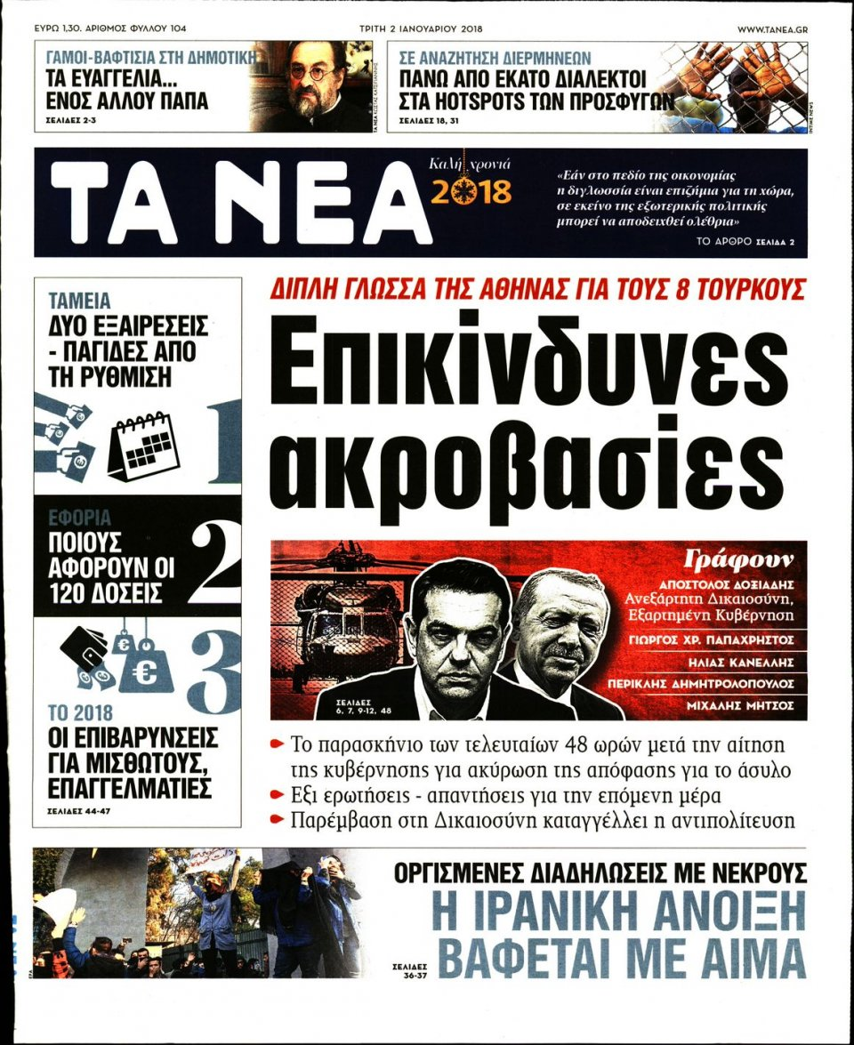 Πρωτοσέλιδο Εφημερίδας - ΤΑ ΝΕΑ - 2018-01-02