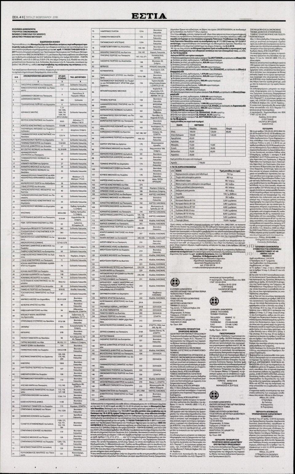 Οπισθόφυλλο Εφημερίδας - ΕΣΤΙΑ - 2018-02-27