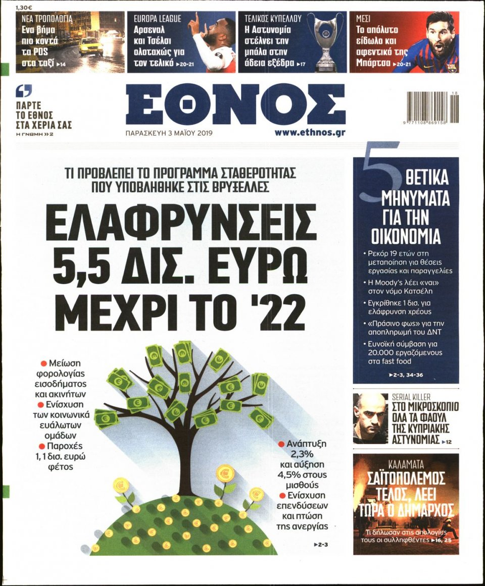 Πρωτοσέλιδο Εφημερίδας - ΕΘΝΟΣ - 2019-05-03