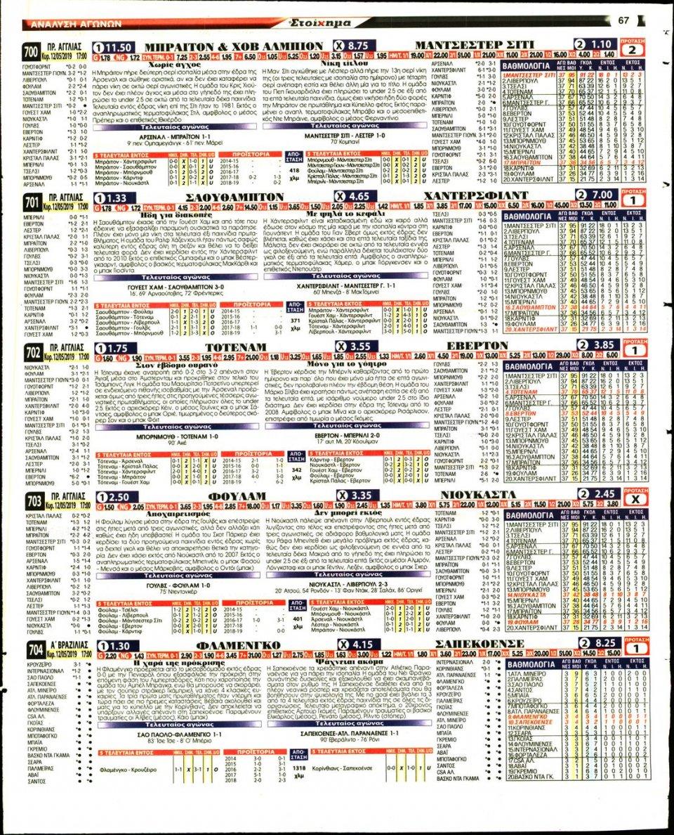 Οπισθόφυλλο Εφημερίδας - ΤΟ ΣΤΟΙΧΗΜΑ - 2019-05-10